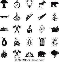 Deforestation icons set, simple style