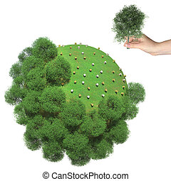 Deforestation on the little green planet. Human hand holds...