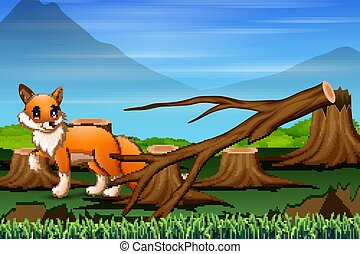 Deforestation scene with starving fox