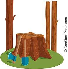 deforestation, vetorial, illustration.
