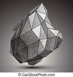 deformado, objeto, aislado, cibernético, elemento, fondo., complejo, blanco, tecnología, zink