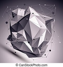 deformado, resumen, objeto, líneas, cibernético, colocado, malla, ov, 3d