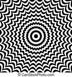 deformation., resumen, líneas, fondo., negro, radial, blanco