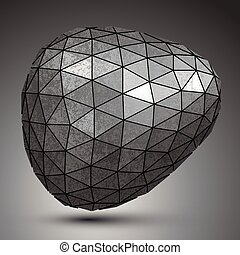 Deformed galvanized 3d abstract object, grayscale asymmetric...