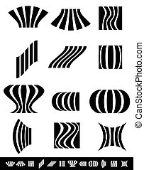 Deformed vertical bars with deformation effects. set of 12...