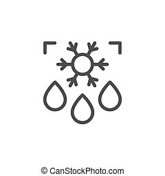 Defrost line outline icon and fridge concept