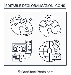 Deglobalisation line icons set. Reverse globalization, local resurgence and market. income redistribution. World economy concept. Isolated vector illustrations. Editable stroke