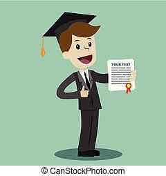 degré, école, certificat, university., business, diplôme, collège, complet, prise, ou, homme