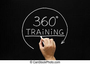 degrés, 360, concept, formation