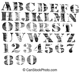 Degraded alphabet and numbers.