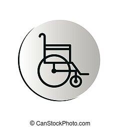 degraded circular button with wheelchair vector illustration
