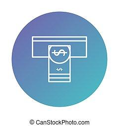 degraded, distributeur billets banque, argent, trou, style, note