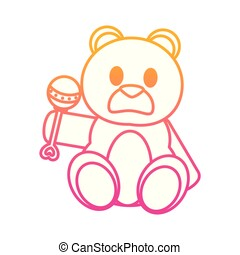 degraded line bear teddy cute toy with rattle