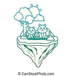 degraded line family cat animal in float island
