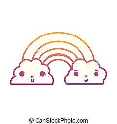 degraded line kawaii cute rainbow and clouds weather