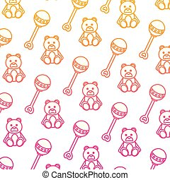 degraded line rattle and teddy bear toys background
