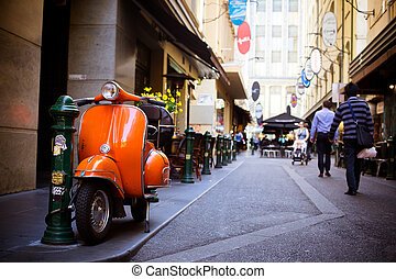 Melbourne's famous Degraves St with motorcycle