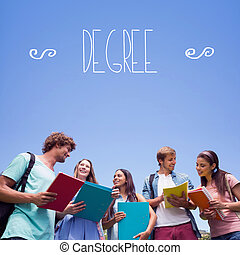 Degree against students standing and chatting together