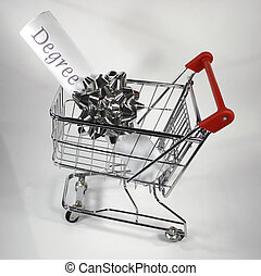 degree cart - university degree in shopping cart white...