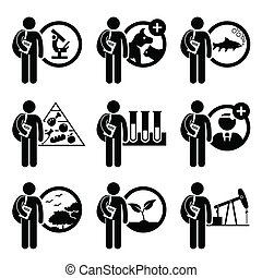A set of human pictogram representing course degree in Agriculture Science. This include studies in science research, veterinary, fishery, food, biology, doctorate, environmental, plant, and petroleum.