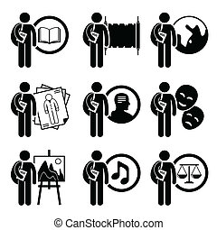 Degree in Arts and Humanities - A set of human pictogram...