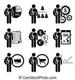 A set of human pictogram representing degree in business management. This include financial analysis, human resources, financial engineering, accounting, currency, business law, marketing, commerce, and economic.