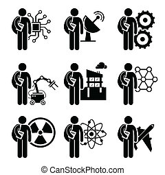 A set of human pictogram representing course degree in engineering which include electrical electronic, mechanical, telecommunication, robotic automation, civil engineering, nanotechnology, nuclear, chemical, and aerospace.