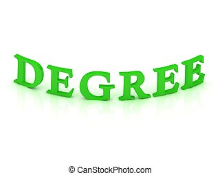 DEGREE, sign with green word