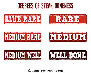 Degrees of steak doneness stamps set