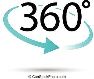 degres, 360, ícone