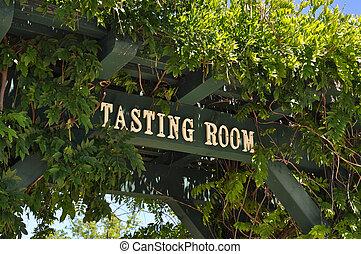 degustação vinho, sala, sinal