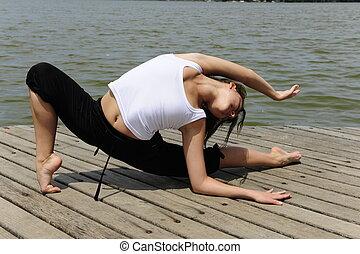 dehnen, flexibel, frau, draußen