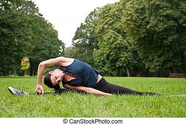 dehnen, frau, muskeln, jogging, vorher
