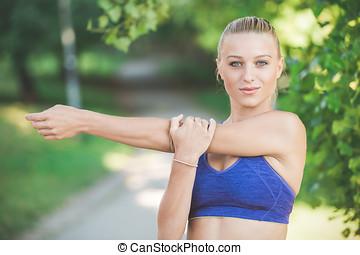 dehnen, jogging, frau, führt, vorher