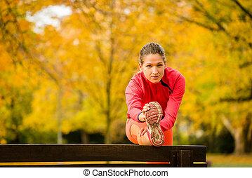 dehnen, jogging, frau, vorher