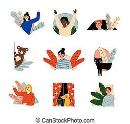 dehors, animaux familiers, regarder dérobée, hommes, vecteur, gens, sauvage, illustration, ensemble, femmes, animaux, regarder, mur, derrière, jeter coup oeil, fenetres