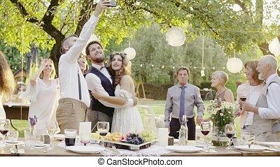 dehors, backyard., réception, mariage