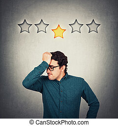 dehors, business, concept., réaction, mécontent, contrarié, pauvre, étoile, main, décue, ennuyé, entrepreneur, front, client, garde, personne, émotion, 5, figure, service., 1, reçoit, négatif