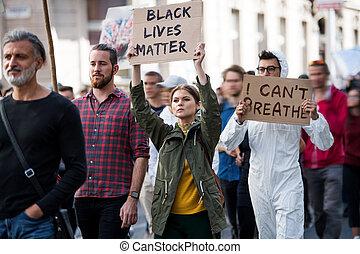 dehors, compter, streets., tenue, signes, noir, vies, protesters, marcher