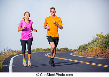 dehors, couple, jogging, courant, fitness, sport