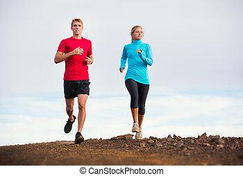 dehors, couple, jogging, traîner courir, fitness, sport