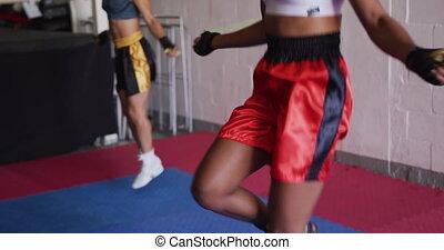 dehors, course, gymnase, fonctionnement, boxe, deux, femme, mélangé