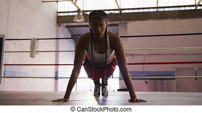 dehors, course, gymnase, fonctionnement, boxe, femme, mélangé