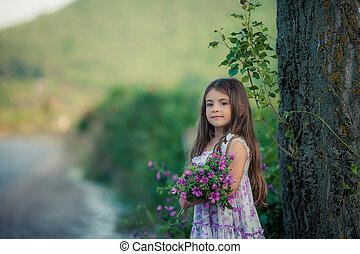 dehors, enfant, collects, sauvage, années, fleurs, 7-9, ...