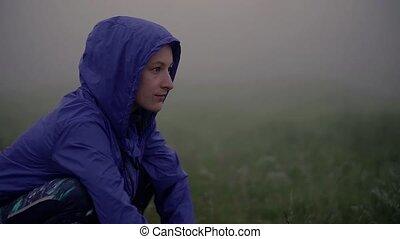 dehors, exercice, après, nature., reposer, femme, gros plan, jeune, brumeux