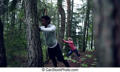 dehors, exercice, bois, couple, stretching., nature, jeune