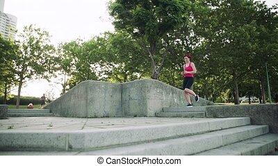 dehors, exercice, running., ville, femme, jeune