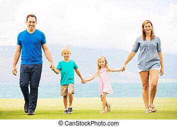 dehors, famille, heureux