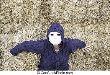 dehors, femme, masqué