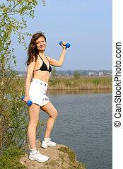 dehors, femme, poids, jeune, exercisme